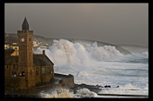 Storm wave hitting sea defences